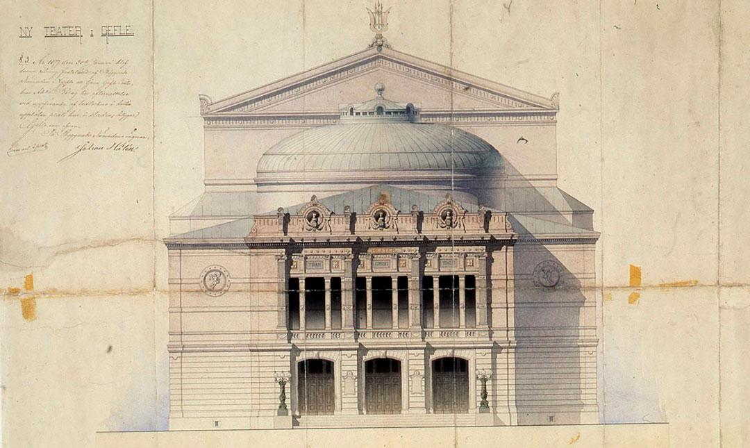 Bild ritning på Gävle Teaters exteriör